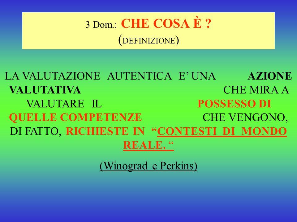 3 Dom.: CHE COSA È (DEFINIZIONE)