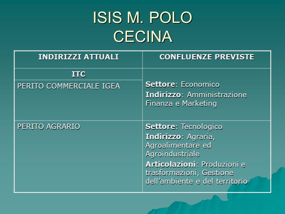 ISIS M. POLO CECINA INDIRIZZI ATTUALI CONFLUENZE PREVISTE ITC