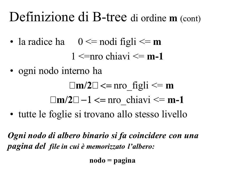 Definizione di B-tree di ordine m (cont)