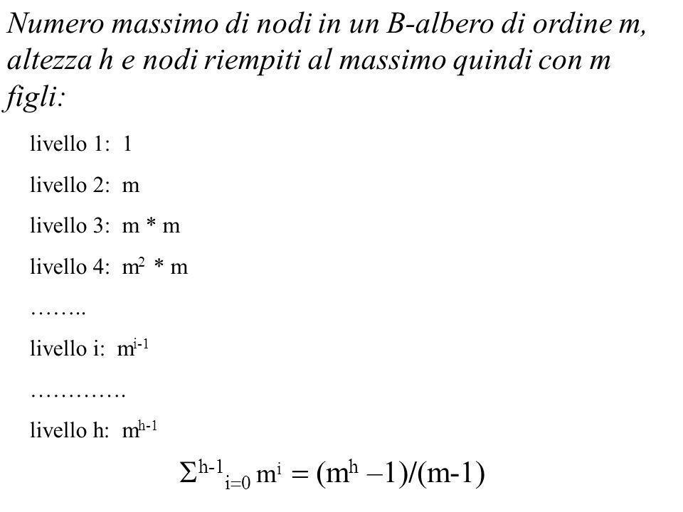Numero massimo di nodi in un B-albero di ordine m, altezza h e nodi riempiti al massimo quindi con m figli: