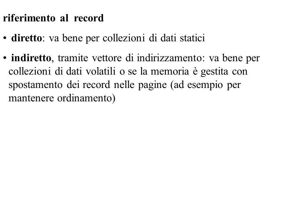 riferimento al record diretto: va bene per collezioni di dati statici.