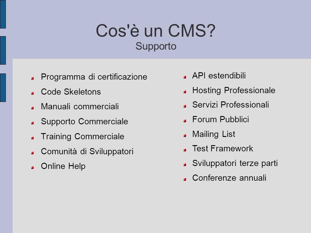 Cos è un CMS Supporto API estendibili Programma di certificazione