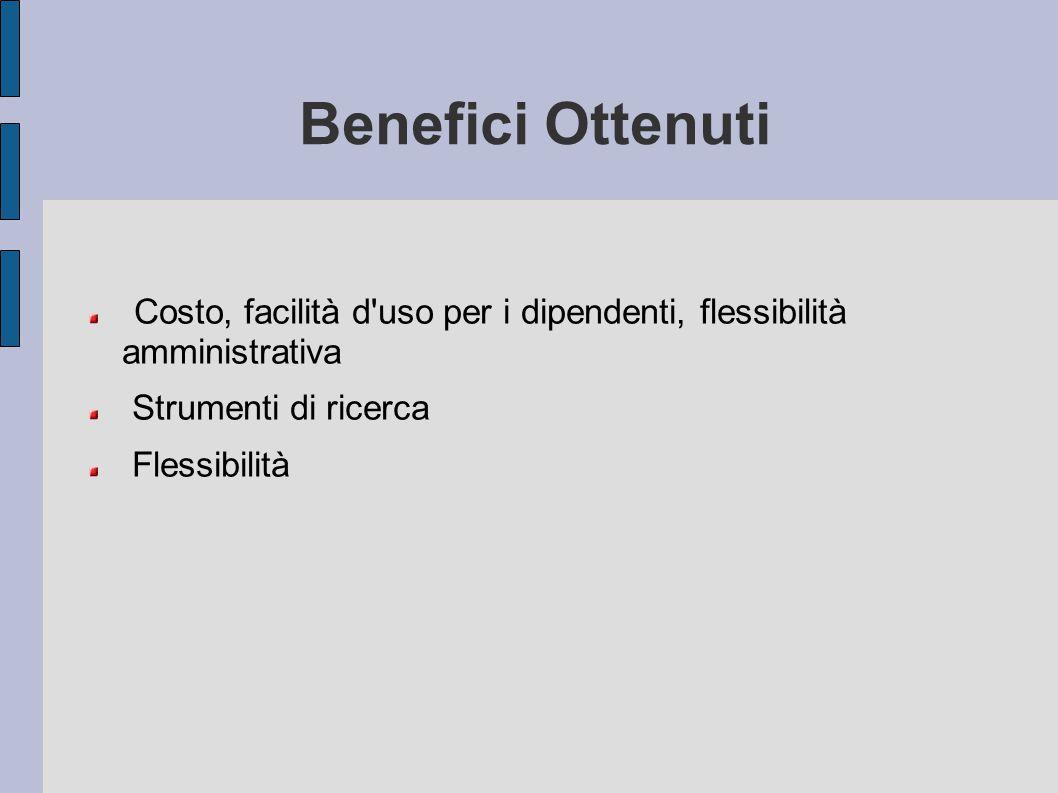 Benefici Ottenuti Costo, facilità d uso per i dipendenti, flessibilità amministrativa. Strumenti di ricerca.