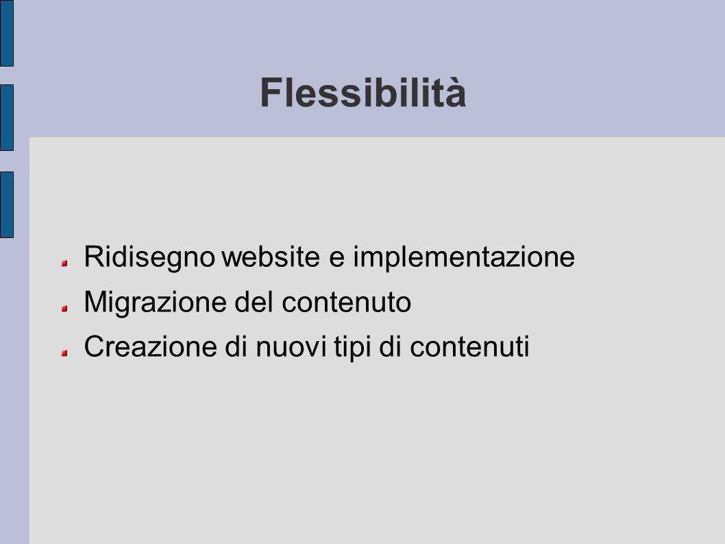 Flessibilità Ridisegno website e implementazione