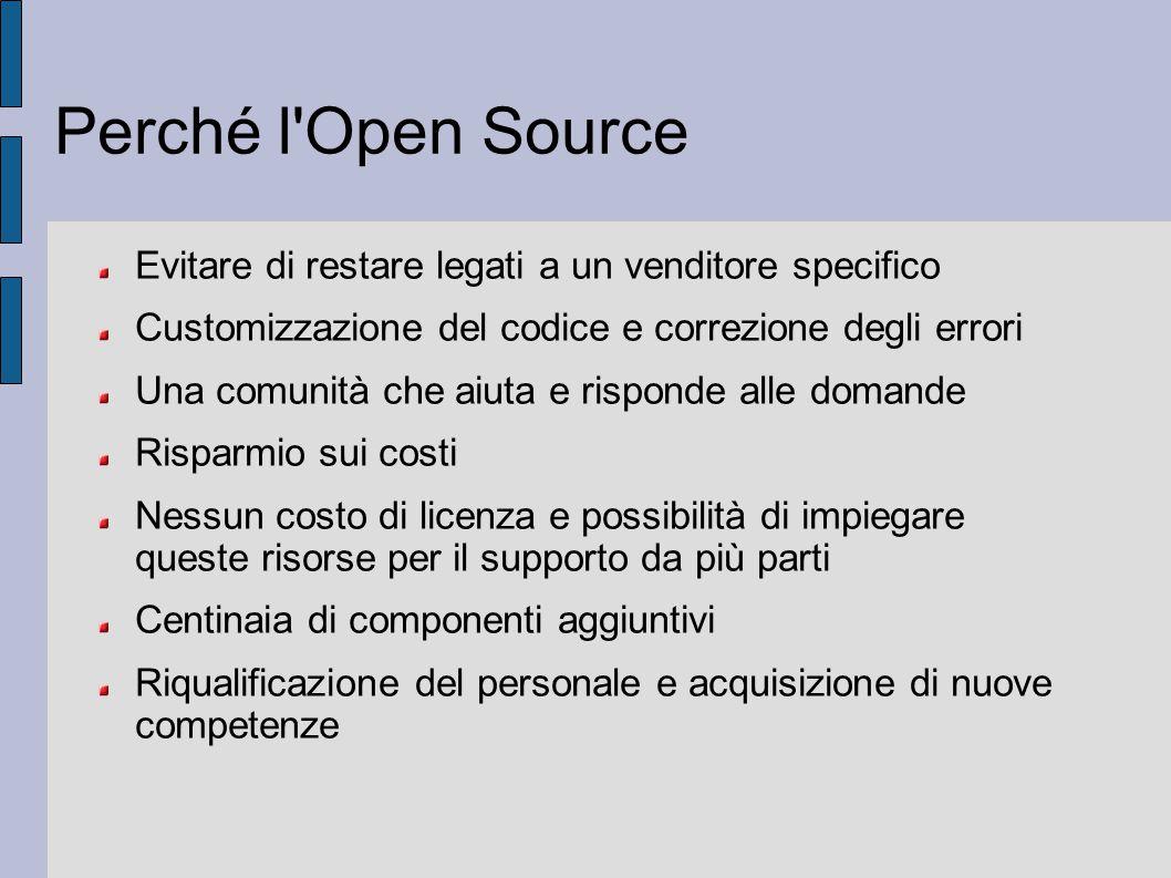 Perché l Open Source Evitare di restare legati a un venditore specifico. Customizzazione del codice e correzione degli errori.
