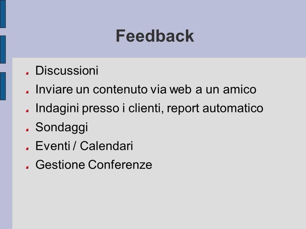 Feedback Discussioni Inviare un contenuto via web a un amico