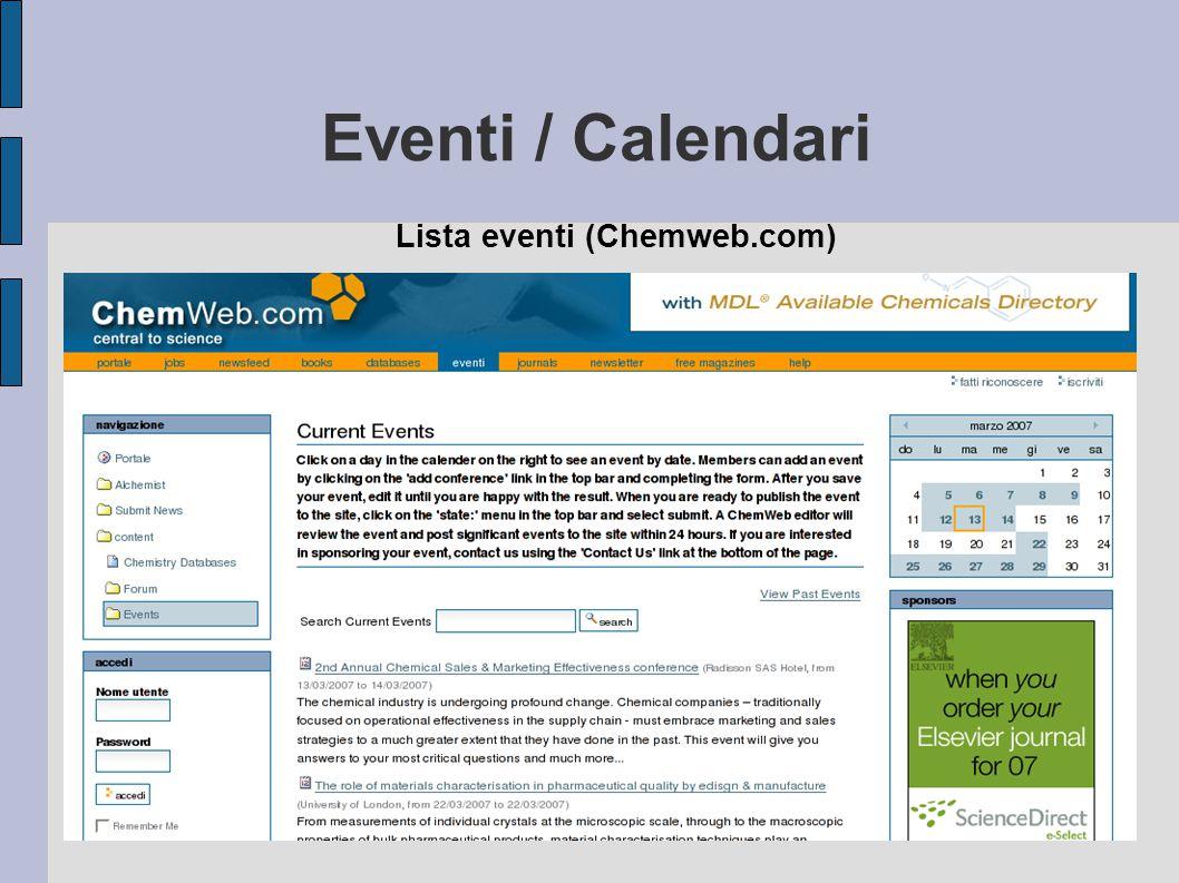 Lista eventi (Chemweb.com)