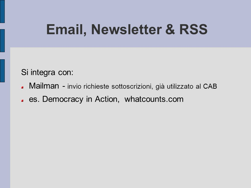 Email, Newsletter & RSS Si integra con: