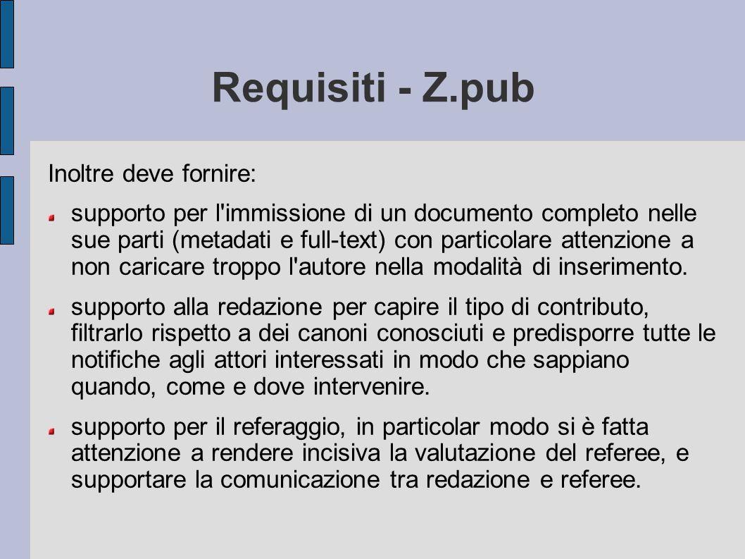 Requisiti - Z.pub Inoltre deve fornire: