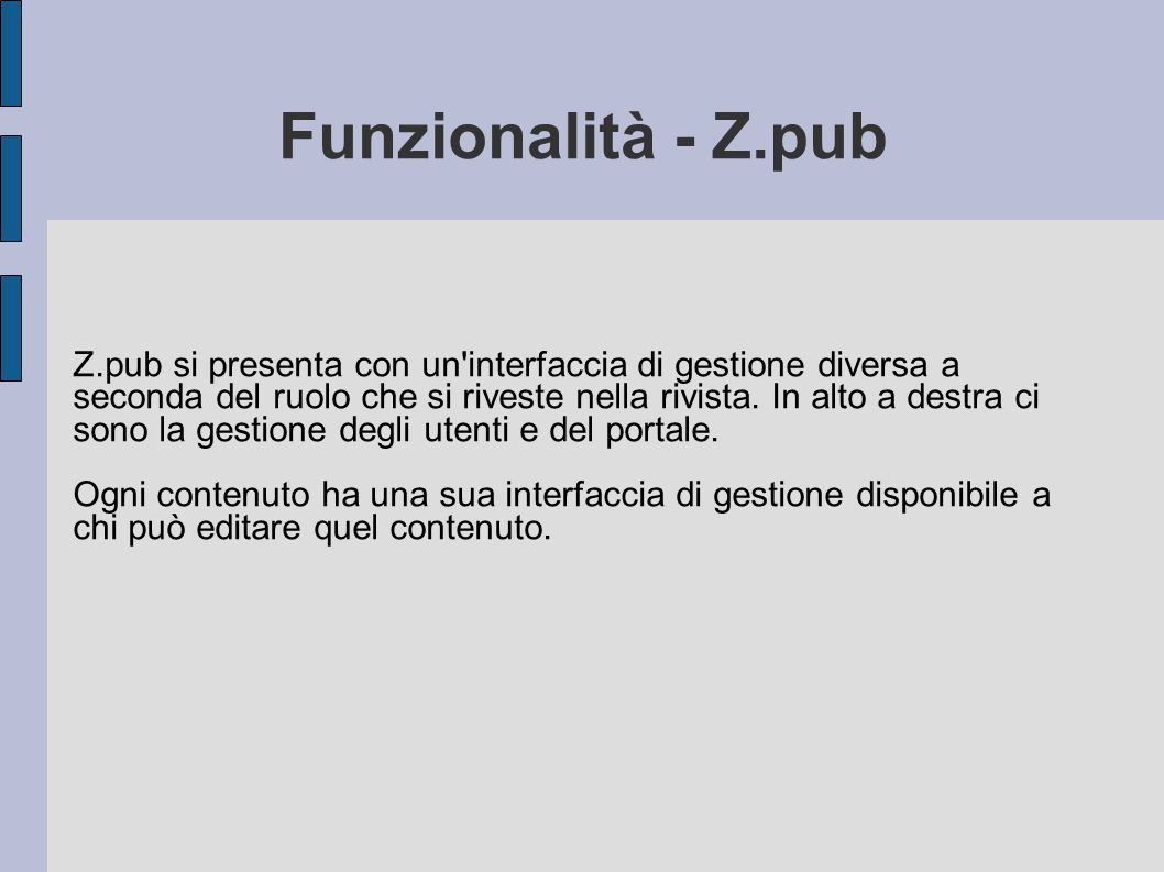 Funzionalità - Z.pub