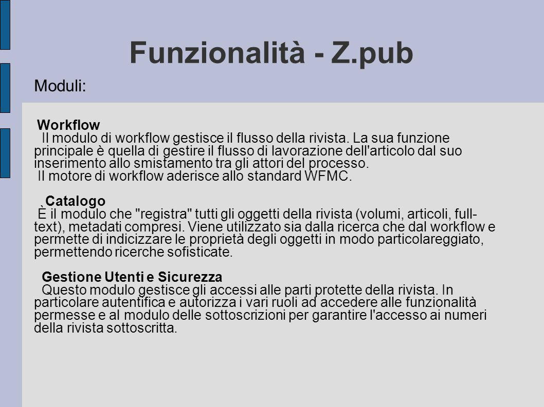 Funzionalità - Z.pub Moduli: