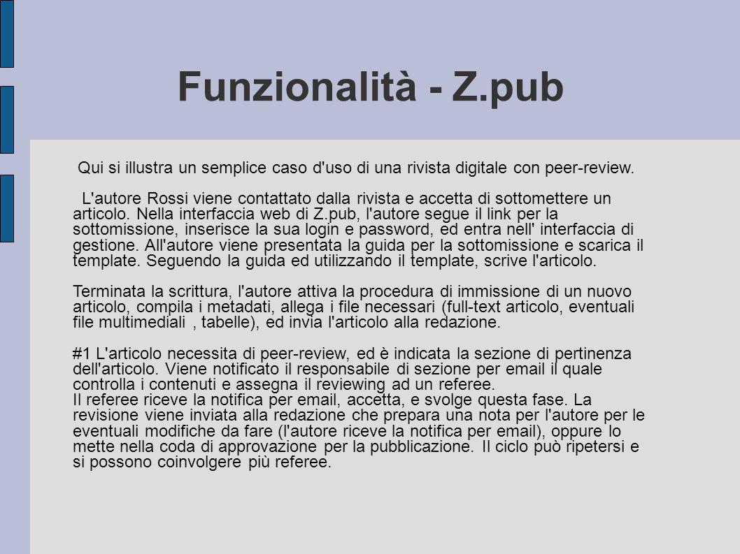 Funzionalità - Z.pub Qui si illustra un semplice caso d uso di una rivista digitale con peer-review.