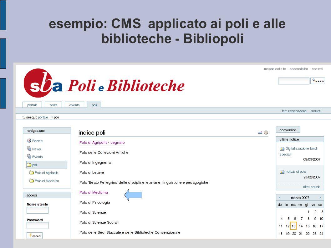 esempio: CMS applicato ai poli e alle biblioteche - Bibliopoli