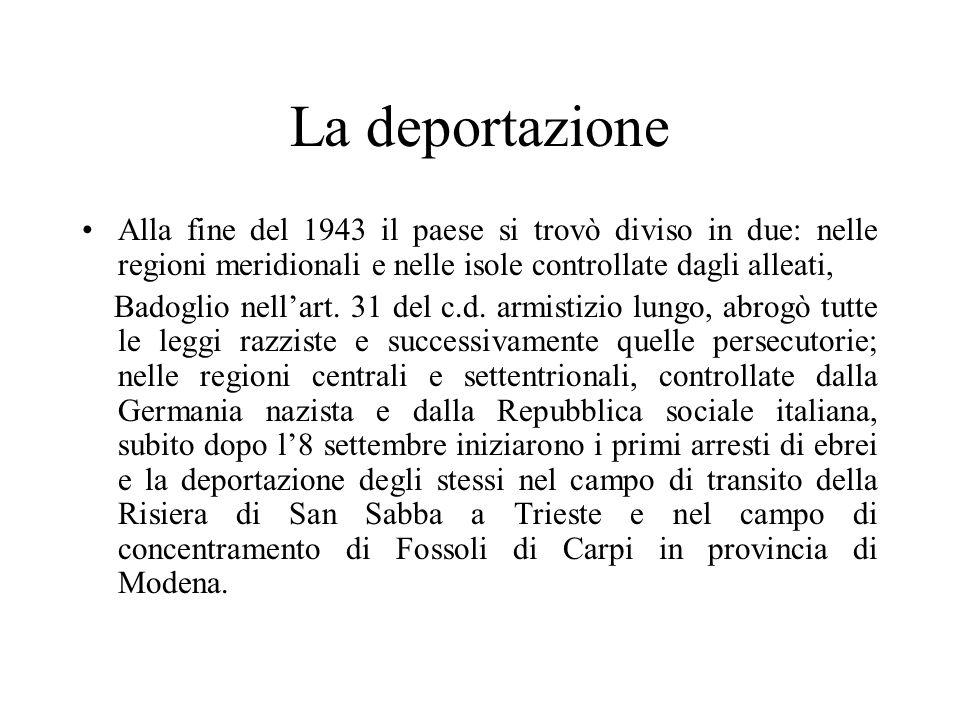 La deportazione Alla fine del 1943 il paese si trovò diviso in due: nelle regioni meridionali e nelle isole controllate dagli alleati,