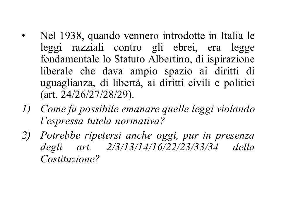Nel 1938, quando vennero introdotte in Italia le leggi razziali contro gli ebrei, era legge fondamentale lo Statuto Albertino, di ispirazione liberale che dava ampio spazio ai diritti di uguaglianza, di libertà, ai diritti civili e politici (art. 24/26/27/28/29).