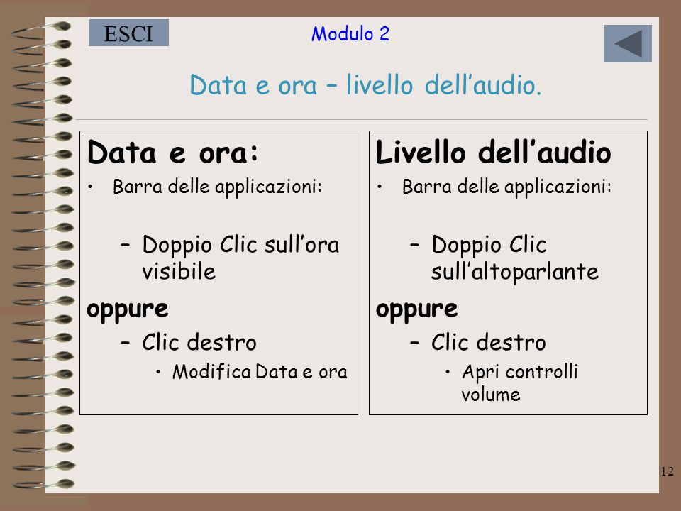 Data e ora – livello dell'audio.