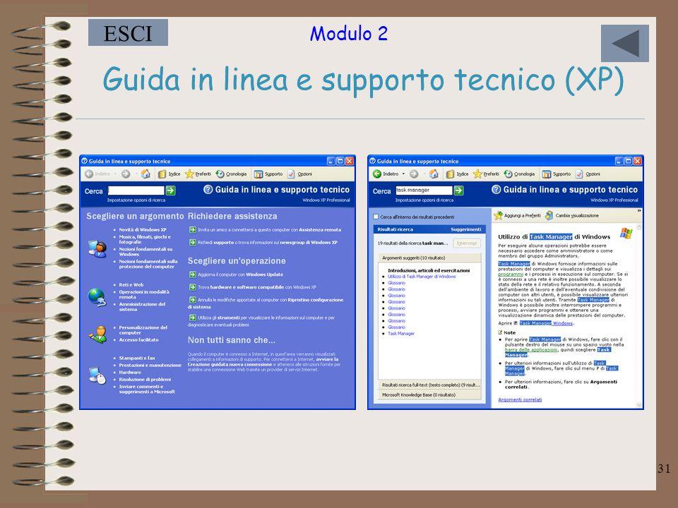 Guida in linea e supporto tecnico (XP)