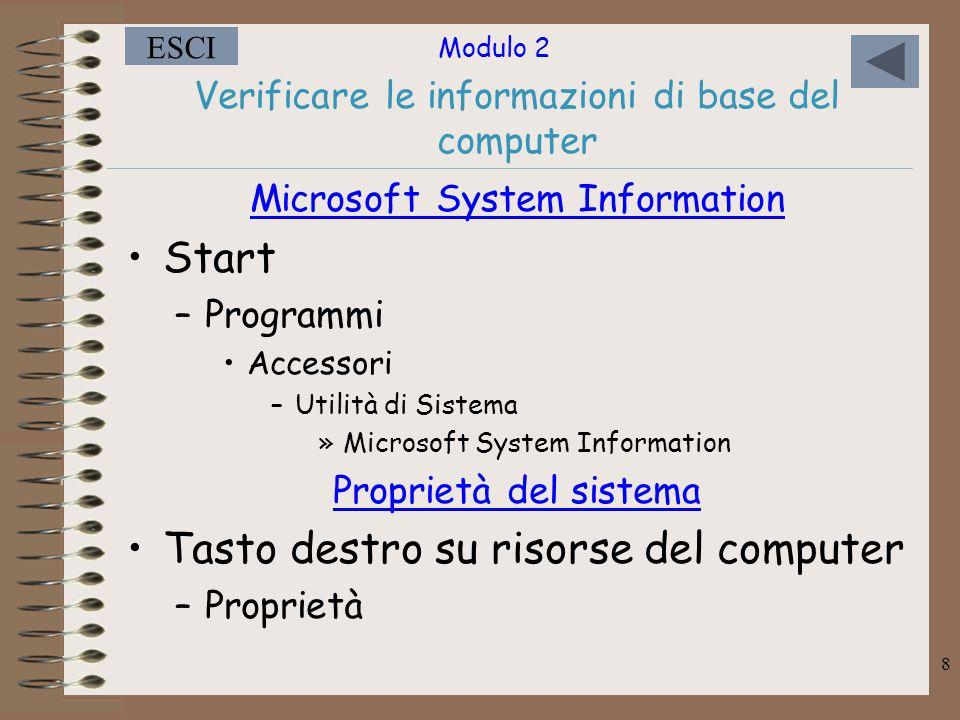 Verificare le informazioni di base del computer