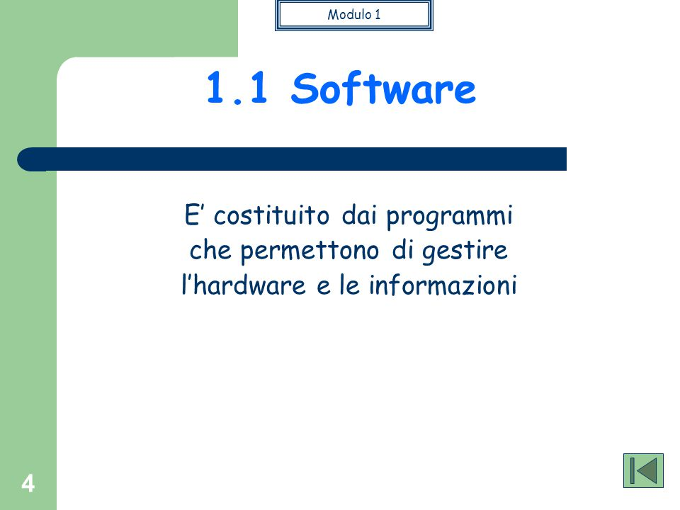 1.1 Software E' costituito dai programmi che permettono di gestire