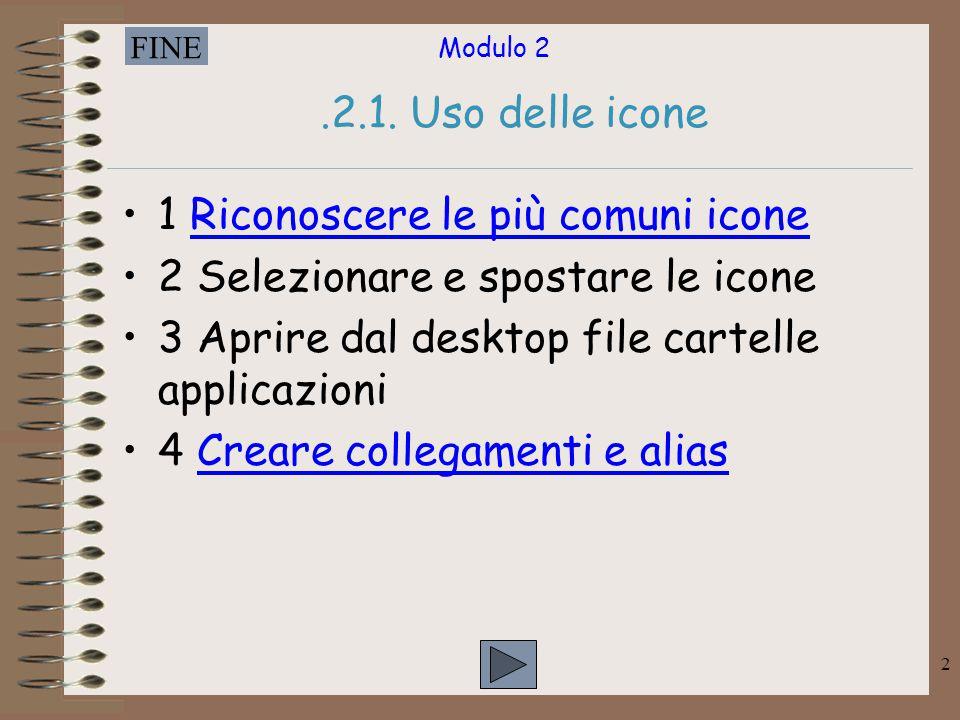 .2.1. Uso delle icone 1 Riconoscere le più comuni icone. 2 Selezionare e spostare le icone. 3 Aprire dal desktop file cartelle applicazioni.