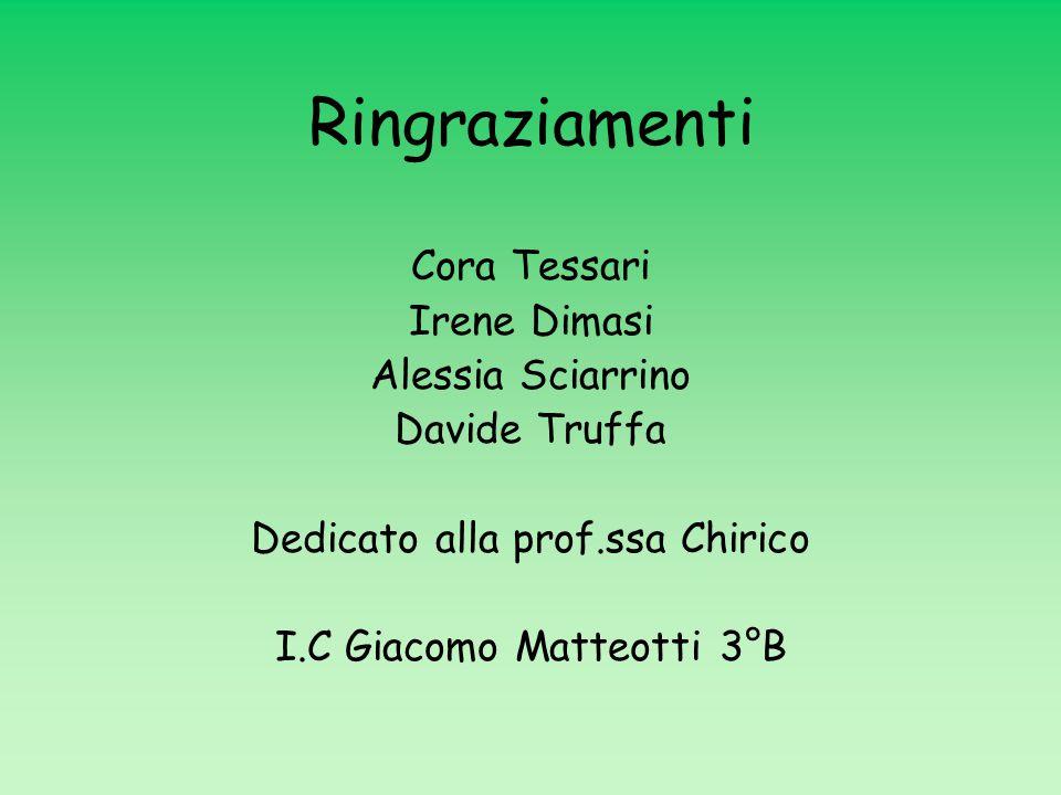 Ringraziamenti Cora Tessari Irene Dimasi Alessia Sciarrino
