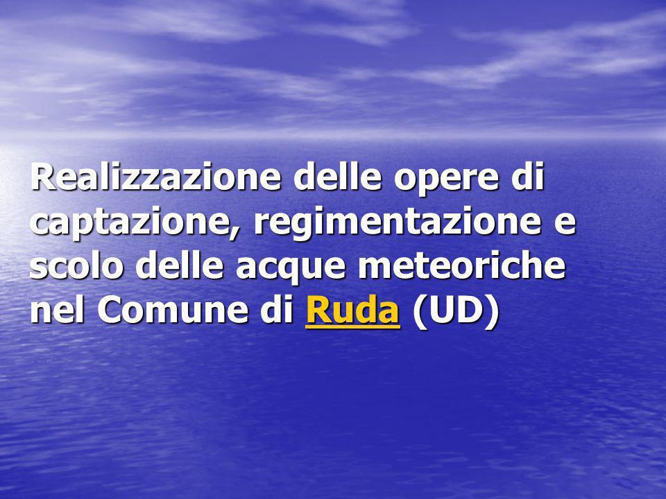 Realizzazione delle opere di captazione, regimentazione e scolo delle acque meteoriche nel Comune di Ruda (UD)