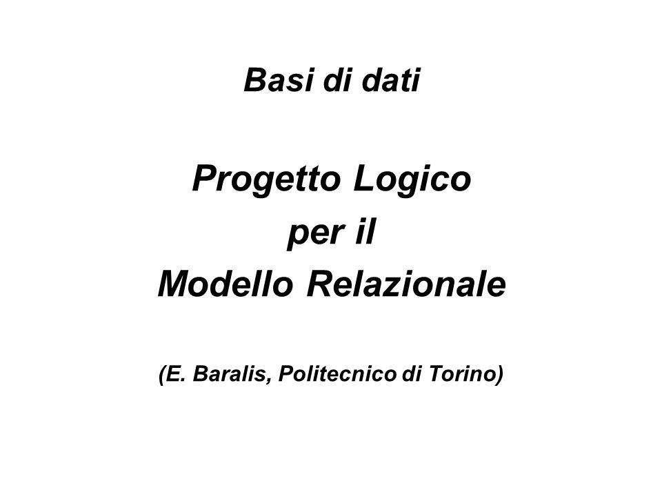 Basi di dati Progetto Logico per il Modello Relazionale (E
