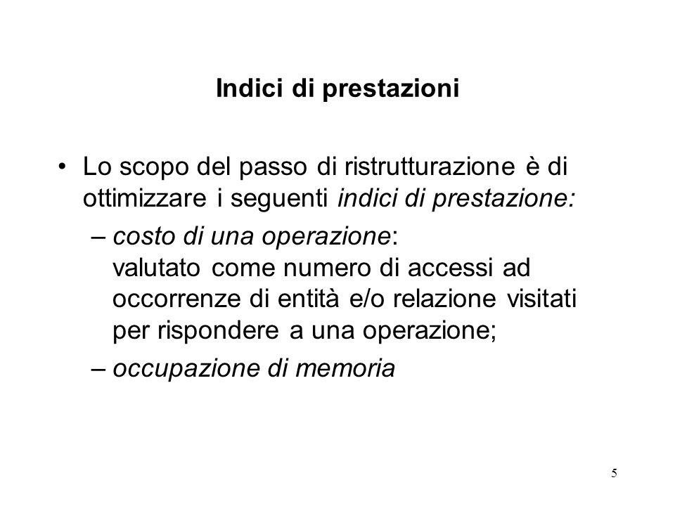 Indici di prestazioni Lo scopo del passo di ristrutturazione è di ottimizzare i seguenti indici di prestazione: