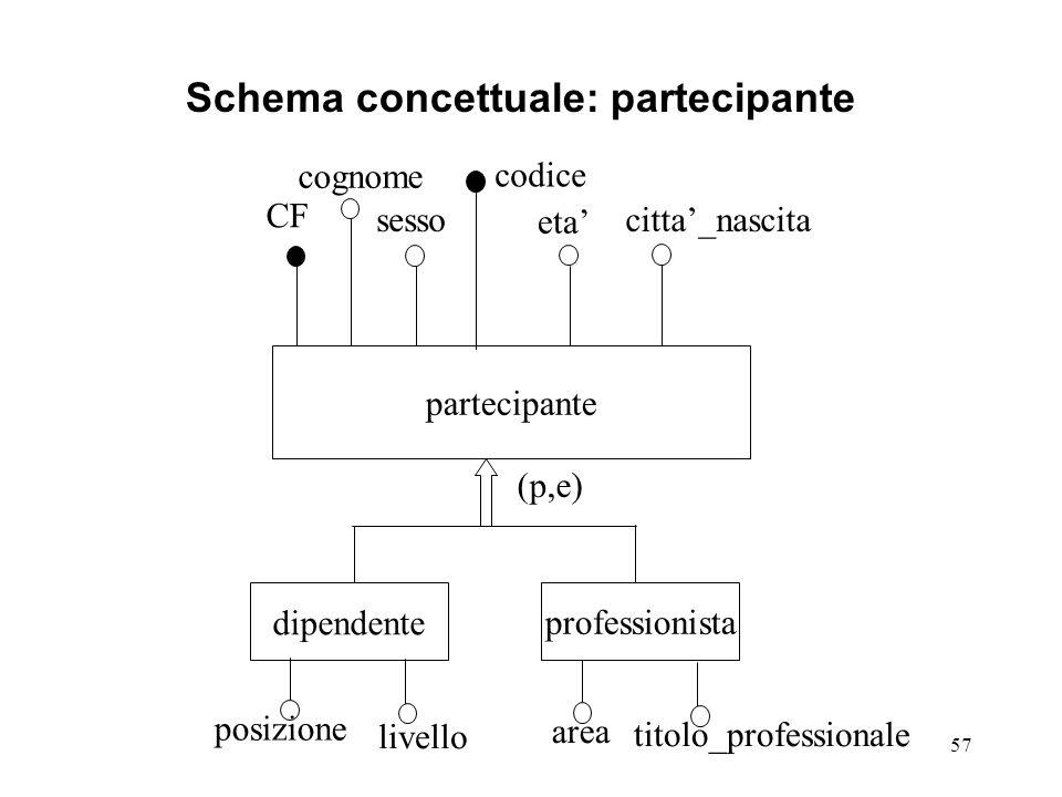 Schema concettuale: partecipante
