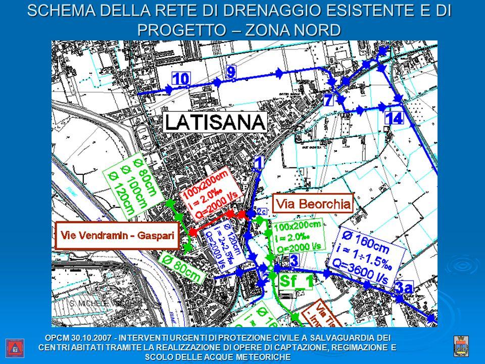 SCHEMA DELLA RETE DI DRENAGGIO ESISTENTE E DI PROGETTO – ZONA NORD