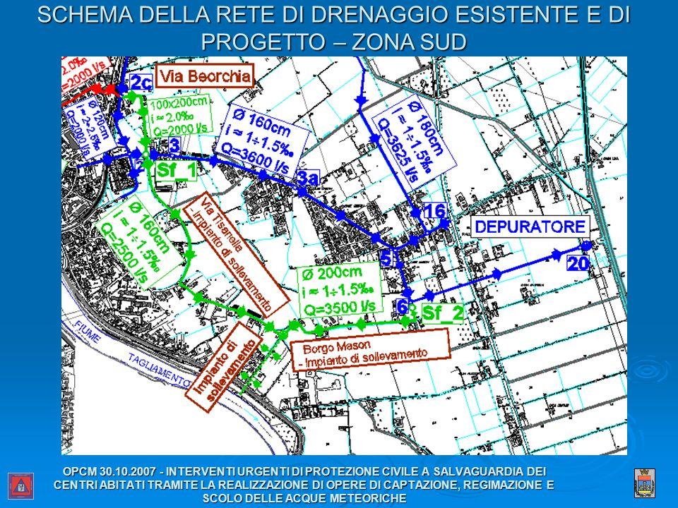 SCHEMA DELLA RETE DI DRENAGGIO ESISTENTE E DI PROGETTO – ZONA SUD