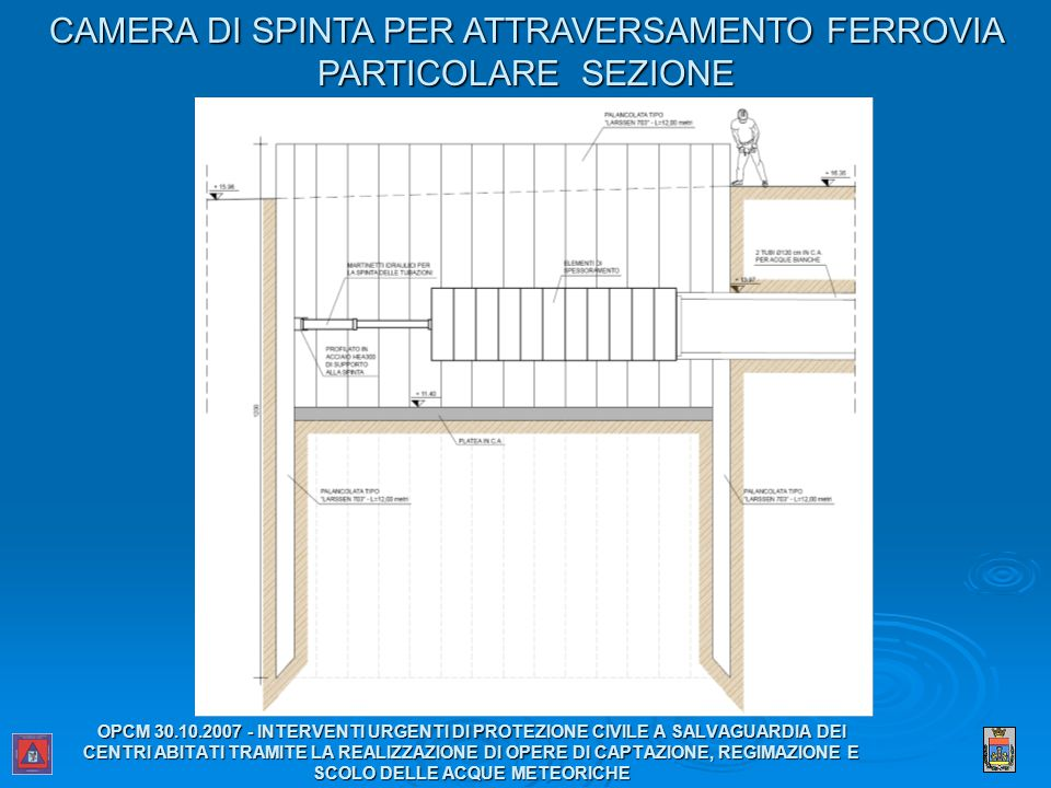 CAMERA DI SPINTA PER ATTRAVERSAMENTO FERROVIA PARTICOLARE SEZIONE