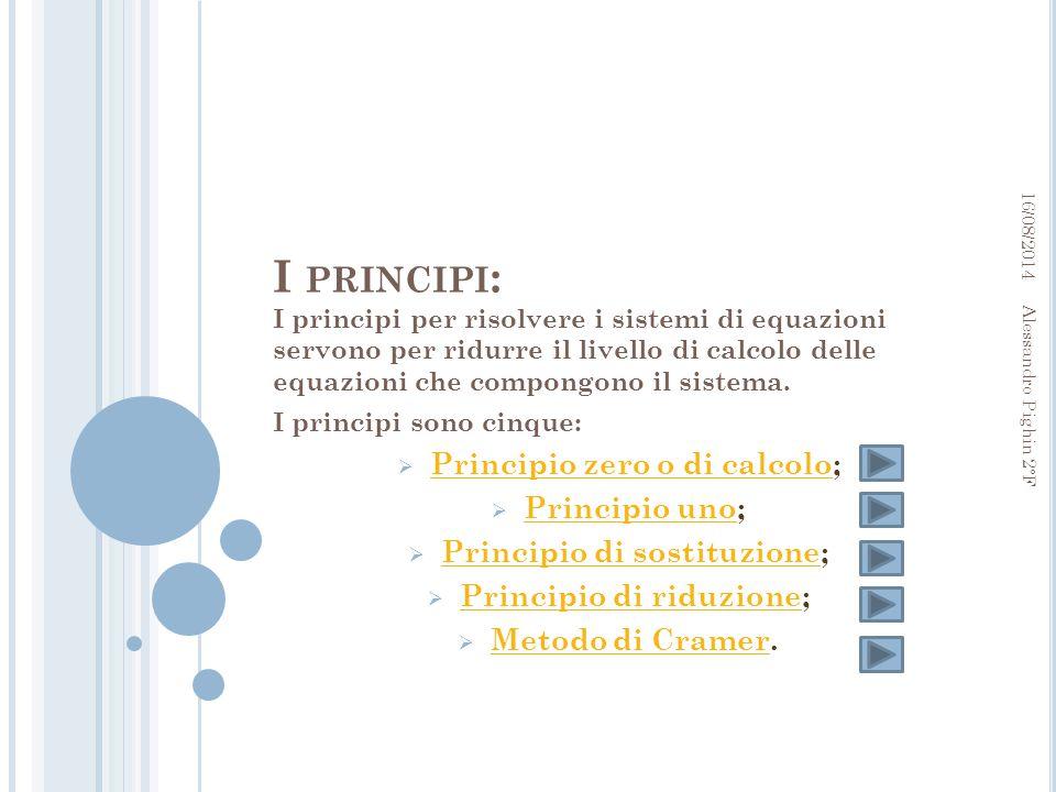 I principi: Principio zero o di calcolo; Principio uno;