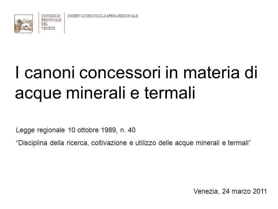 I canoni concessori in materia di acque minerali e termali
