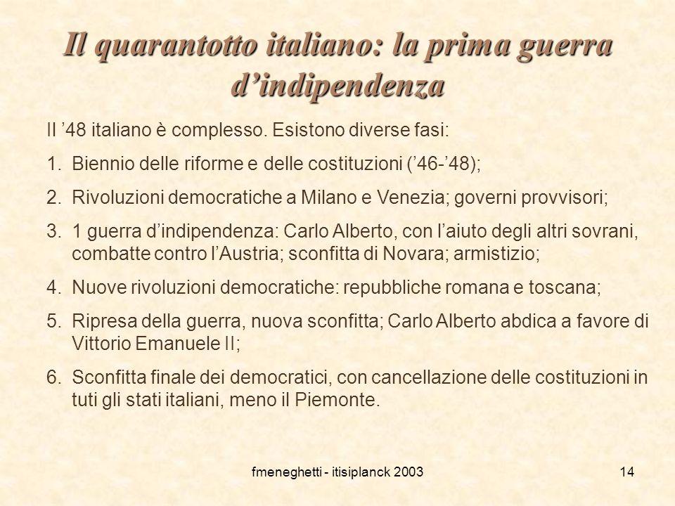 Il quarantotto italiano: la prima guerra d'indipendenza