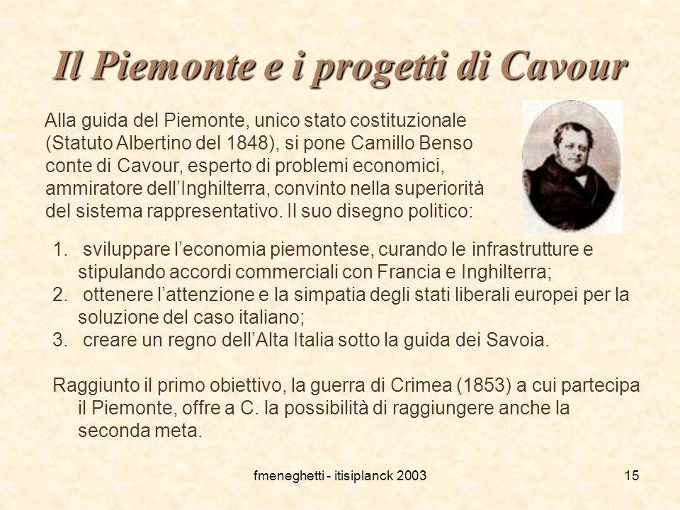 Il Piemonte e i progetti di Cavour