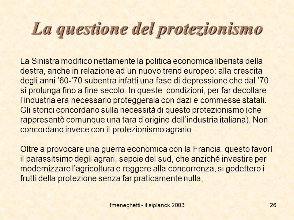 La questione del protezionismo