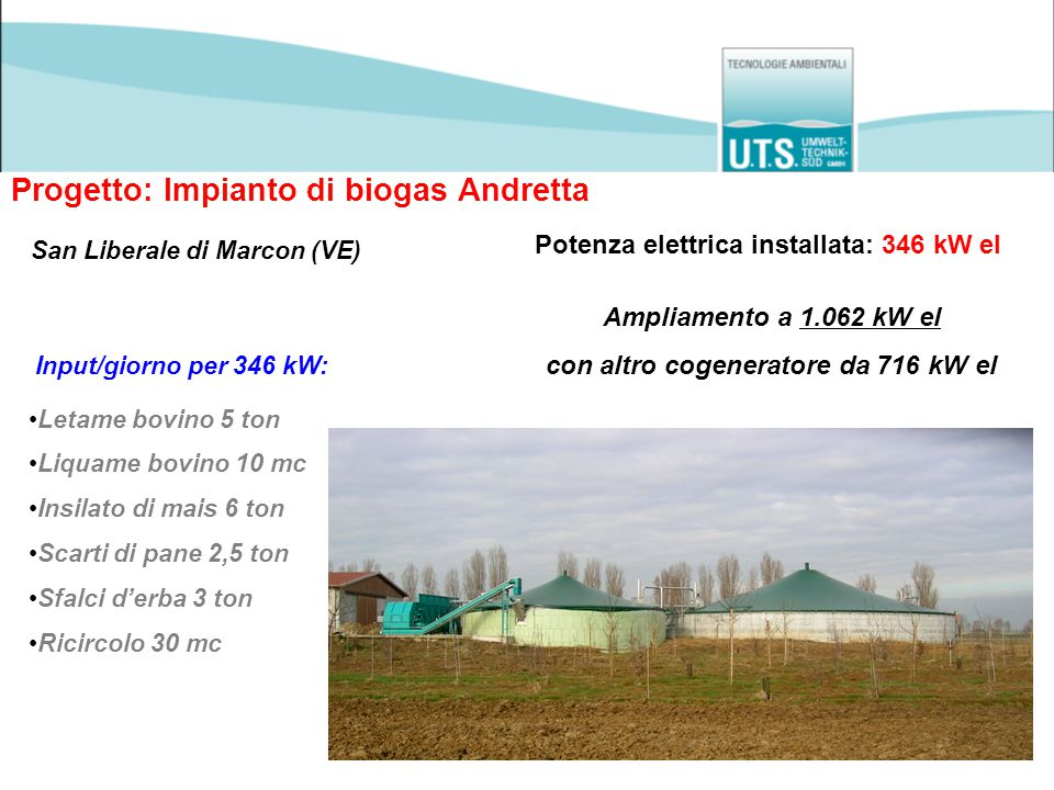 Progetto: Impianto di biogas Andretta