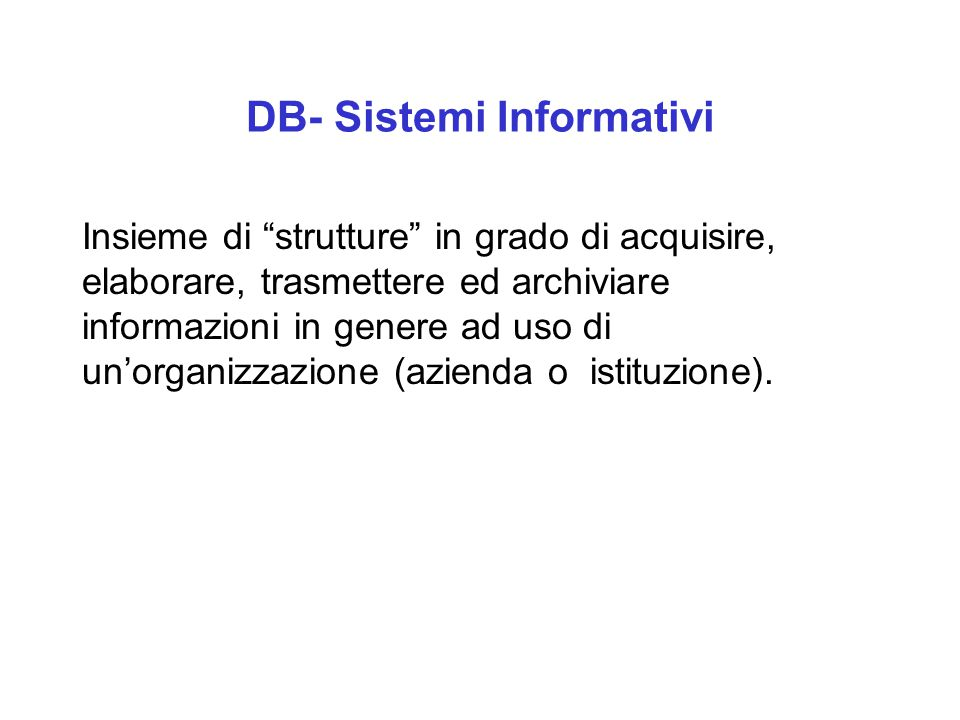 DB- Sistemi Informativi