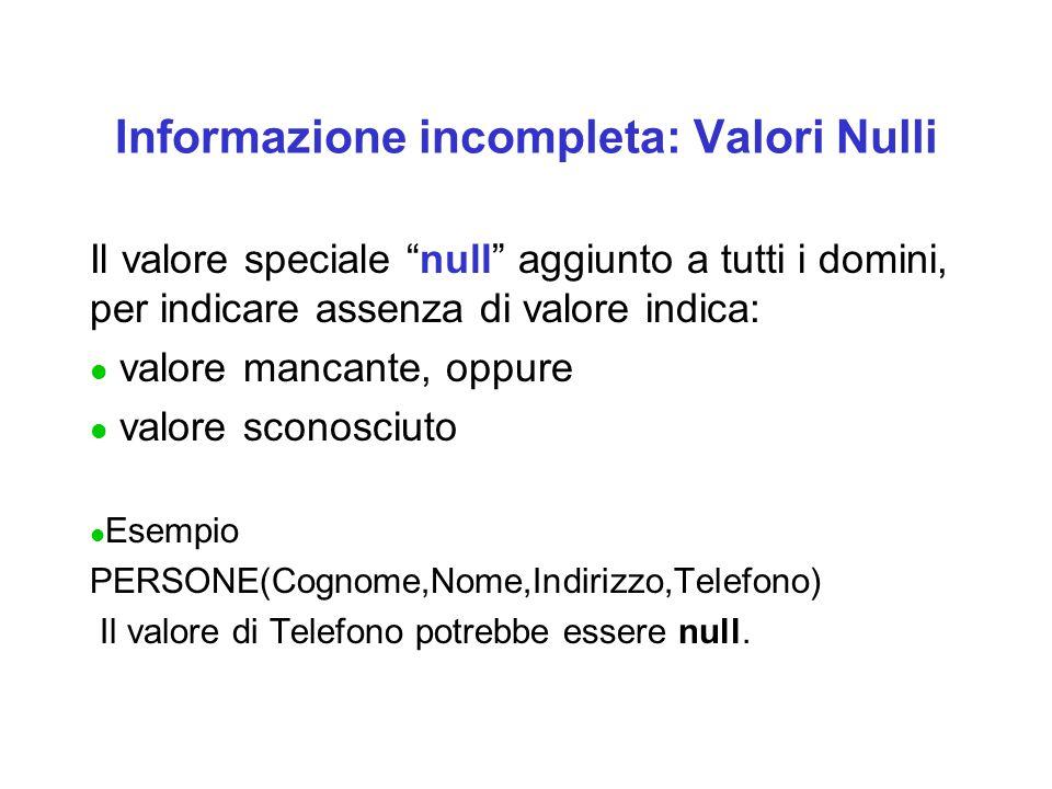 Informazione incompleta: Valori Nulli