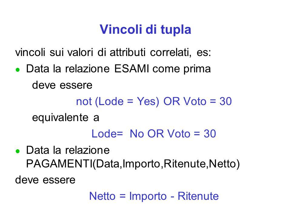 Vincoli di tupla vincoli sui valori di attributi correlati, es: