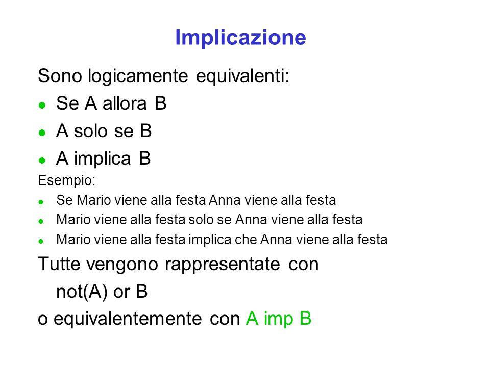 Implicazione Sono logicamente equivalenti: Se A allora B A solo se B