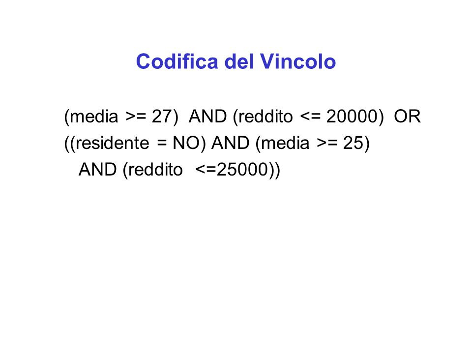 Codifica del Vincolo (media >= 27) AND (reddito <= 20000) OR