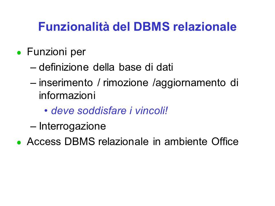 Funzionalità del DBMS relazionale
