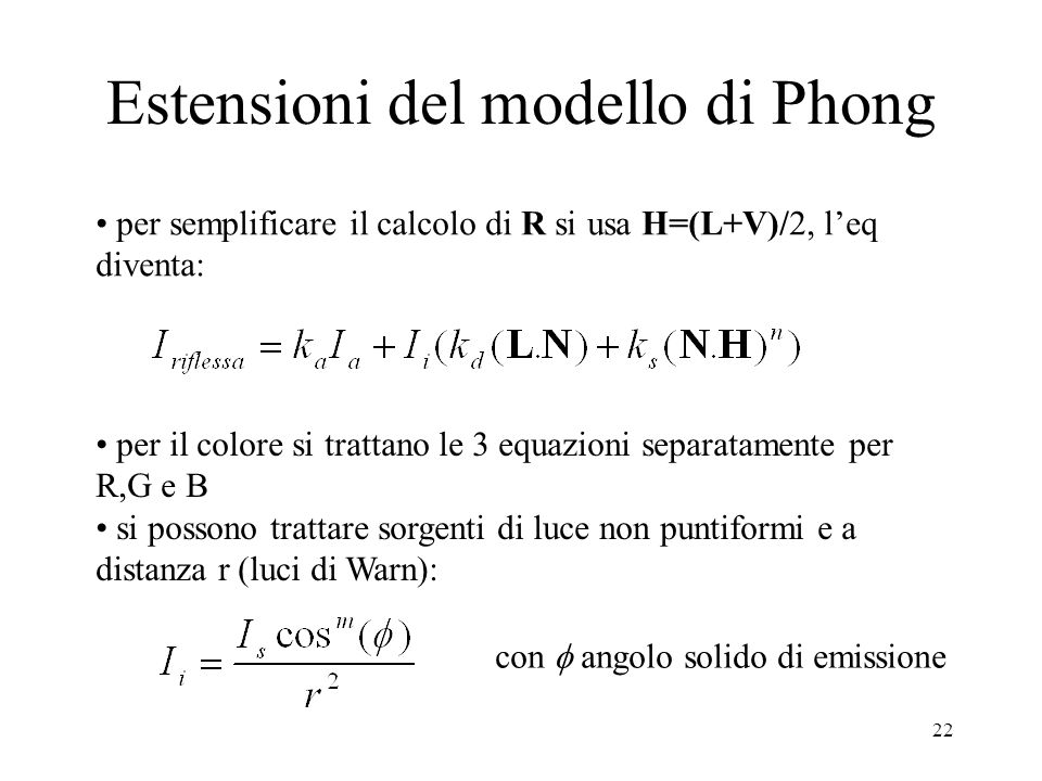 Estensioni del modello di Phong
