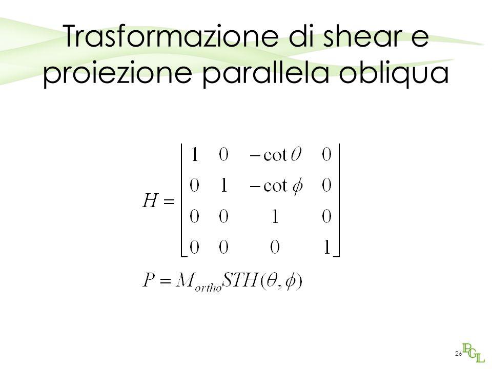 Trasformazione di shear e proiezione parallela obliqua