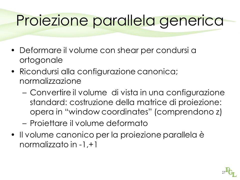 Proiezione parallela generica