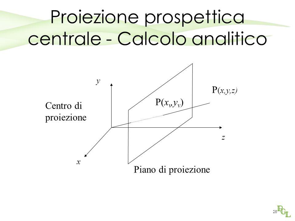 Proiezione prospettica centrale - Calcolo analitico