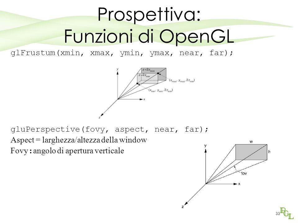 Prospettiva: Funzioni di OpenGL