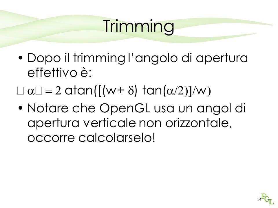 Trimming Dopo il trimming l'angolo di apertura effettivo è: